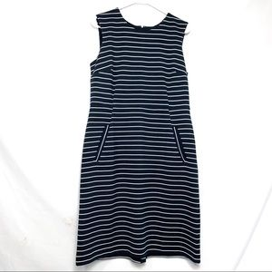 Lands'end sleeveless blue striped dress w/ pockets
